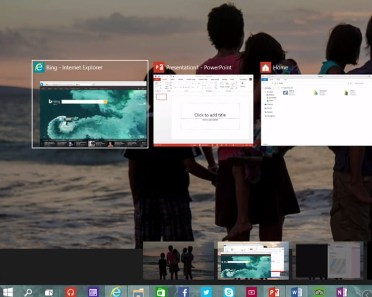 Le bouton Task View et les bureaux virtuels
