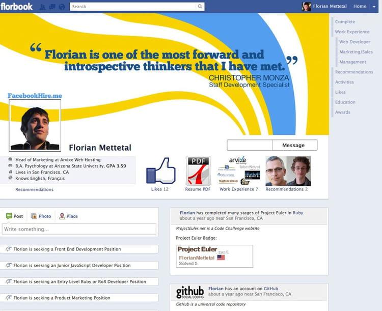 le cv facebook   les cv les plus originaux sur internet
