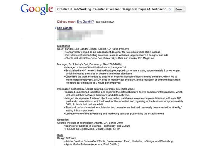 le cv google   les cv les plus originaux sur internet