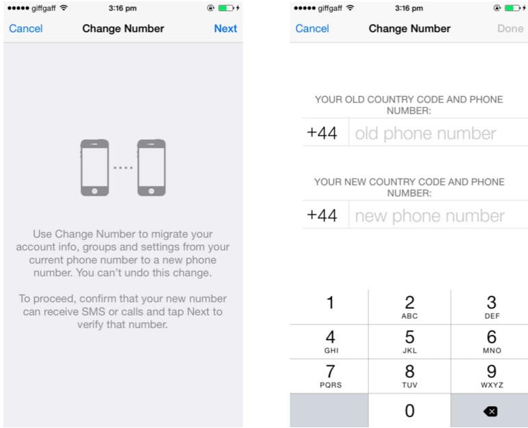 whatsapp changer telephone