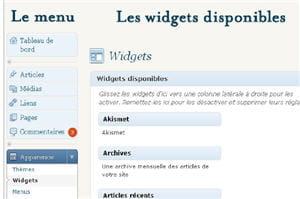 partie du menu de gestion des widgets dans wordpress.