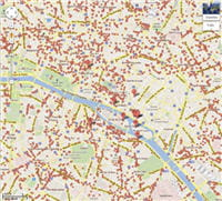 tous les points rouges représentent les restaurants référencés et localisés par