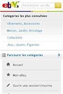 l'affichage d'ebay.fr sur mobile.