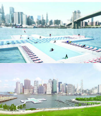 Pool une piscine g ante flottante new york for Piscine new york