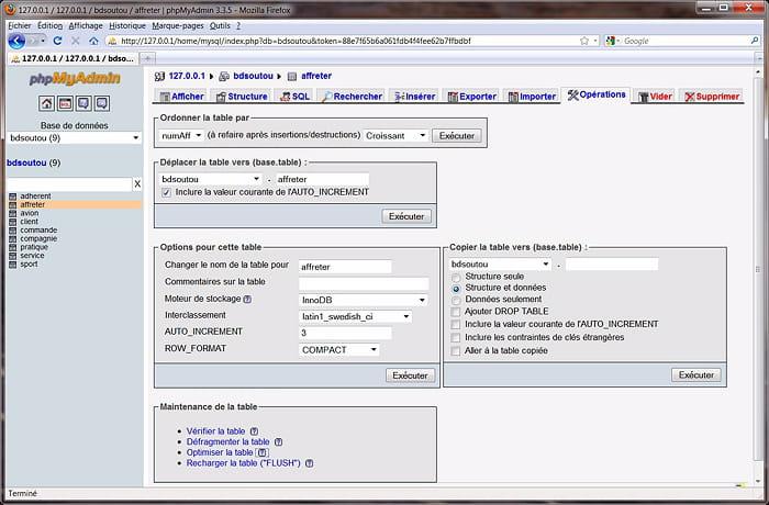 Administrer une table mysql comment utiliser phpmyadmin - Comment utiliser les couverts a table ...