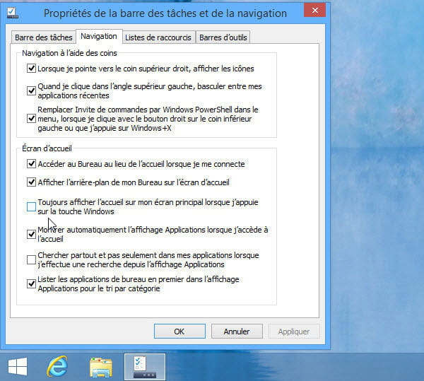 comment faire apparaitre le menu demarrer windows 8
