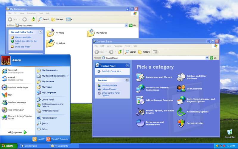 Windows xp moderne et stable les 30 ans de windows en for Fenetre windows xp