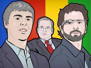 larry page sergey brin eric schmidt google portrait illustration