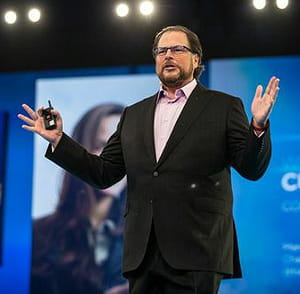 marc benioff, le pdg de  salesforce lors de dreamforce 2014.