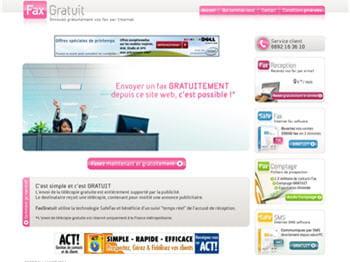 le site offre l'envoi de fax depuis son pc en échange d'un encart publicitaire