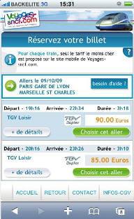 site mobile de voyages-sncf