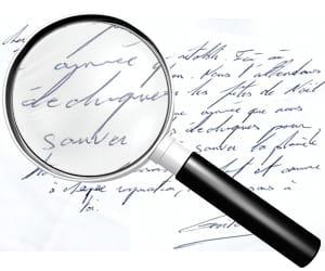 exemple d'écriture inclinée vers la droite.