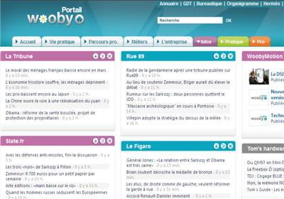 la page d'accueil de l'intranet wooby est  entièrement personnalisable à l'image