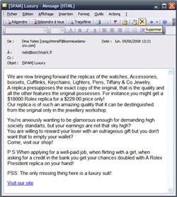 exemple de spam