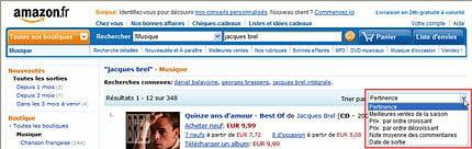 sur amazon.fr aussi, les résultats peuvent être retriés par meilleures ventes,