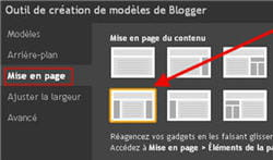 copie d'écran de la fonctionmise en page de l'outil de création de modèles de