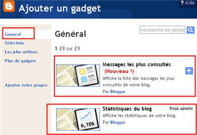 copie d'écran de la liste des gadgets disponibles sous blogger.
