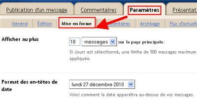 copie d'écran de l'option 'mise en forme' du menu 'paramètres' de blogger