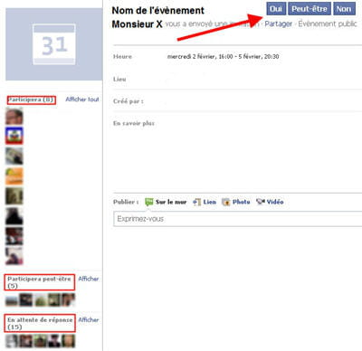 copie d'écran d'un évènement organisé sur facebook.