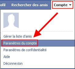 copie d'écran de la fonction paramètres du compte de facebook