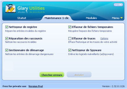 le menu maintenance 1-clic de glary utilities.