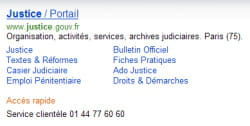 mise en avant du site justice.gouv.fr, via le partenariat entre microsoft et la
