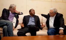 dsk avec le chanteur bob geldof et le ministre des finances du kenya.