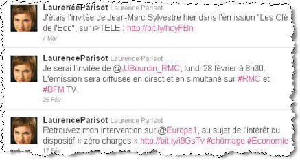 ses tweets sur son agenda médiatique.