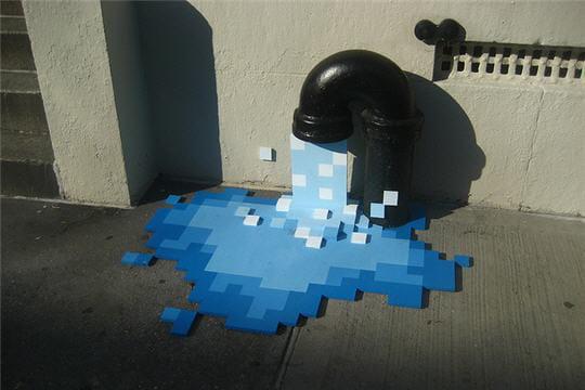 Fontaine d'eau pixel