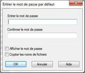 copie d'écran de l'option mot de passe sous winrar.