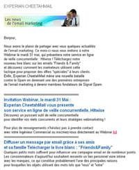 exemple de newsletter mobile d'experian marketing services - cheetahmail